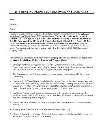 DeYoung Hunting Permit 2013. - The Leelanau Conservancy
