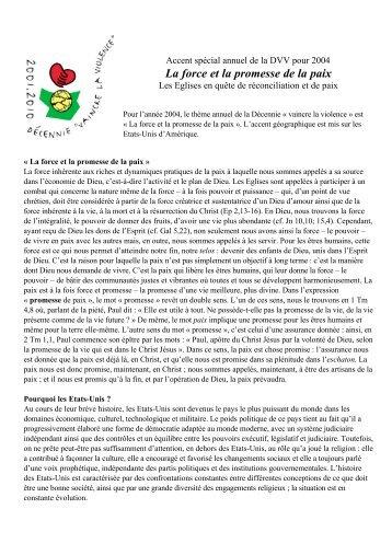 La force et la promesse de la paix - Wcc2006.info