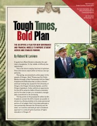 Tough Times, Bold Plan - New Partnership - University of Oregon