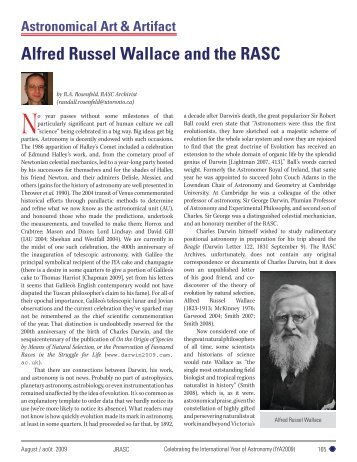 Alfred Russel Wallace and the RASC - Wallace-online.org