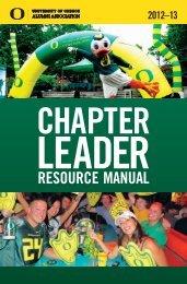 Chapter Leader Resource Manual - UO Alumni Association