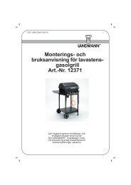 och bruksanvisning för lavastens- gasolgrill Art.-Nr. 12371 - Landmann