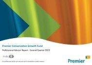 Premier Conservative Growth Fund - QUARTERLY REPORT - 2013