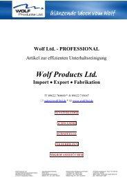 Polieren - Waxen Kneten - Polieren - WOLF Products Ltd.