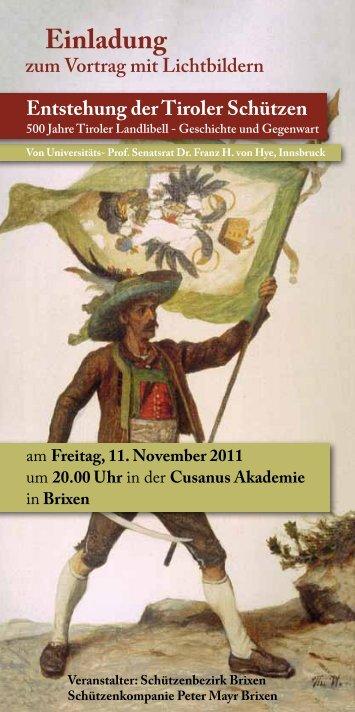 Einladung zum Vortrag mit Lichtbildern - Schützenbezirk Brixen