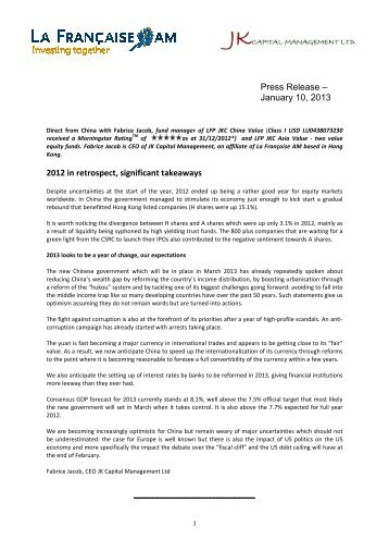 Press release China and Asia Jan 2013 - Funds People