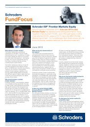 Schroder ISF* Frontier Markets Equity - Funds People