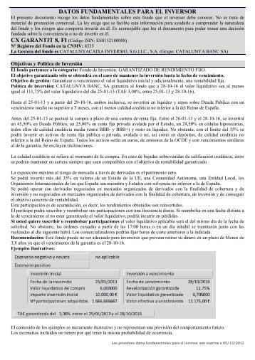 CX Garantit 8 - Fondos de inversion