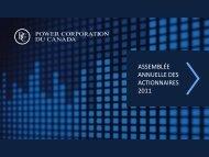 Voir la présentation visuelle - Power Corporation of Canada