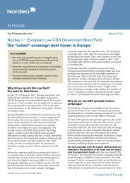 Nordea 1 – European Low CDS Government Bond ... - Funds People