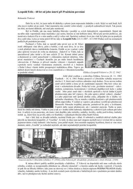Leopold Felix - 60 let od jeho úmrtí při Pražském povstání