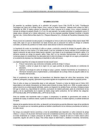 Transferencia tecnológica del cultivo de la almeja chilena (Venus antiqua) al sector productivo.