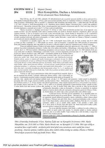 Mezi Konopištěm, Dachau a Artstettenem - rodopisna-revue-online