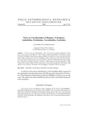 folia entomologica hungarica - Magyar Természettudományi Múzeum