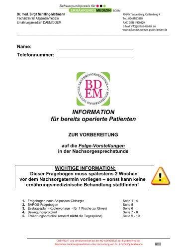 1. Arbeitsblätter für Fragebogen zur ... - Praxis Dr Held Dr Weirather