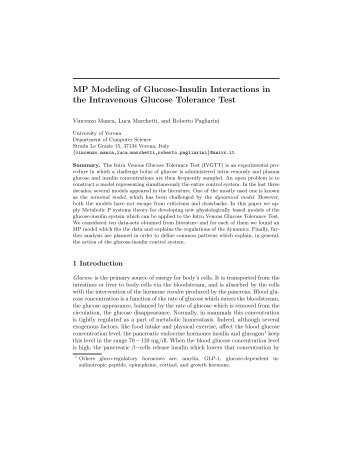 MP Modeling of Glucose-Insulin Interactions in the Intravenous ...