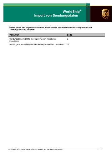 Import von Sendungsdaten - UPS