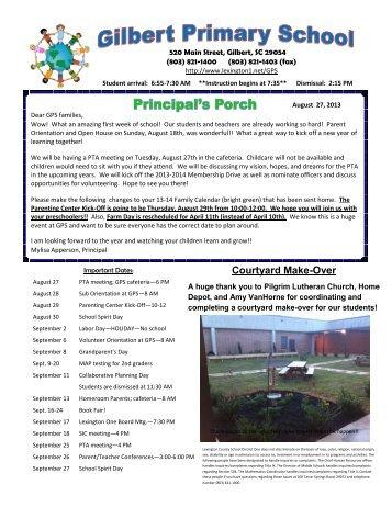 August 27 2013 Newsletter - Gilbert Primary School - Lexington ...