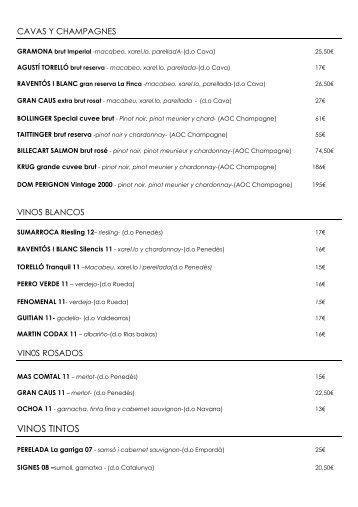 VINOS TINTOS - Restaurante Filigrana