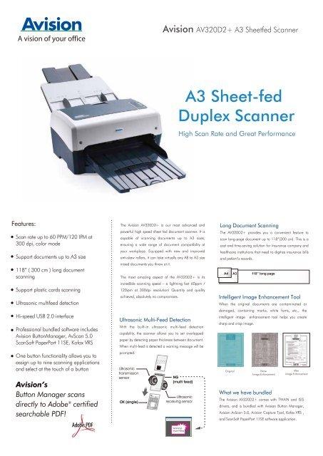 Drivers: Avision AV320D2+ Scanner Certified