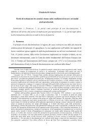 Parità di trattamento fra uomini e donne nelle ... - Gruppo di Pisa