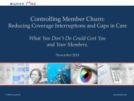 Controlling Member Churn: - Medicaid Health Plans of America
