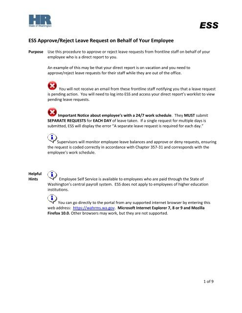 ESS Approve/Reject Leave Request on Behalf of Your Employee