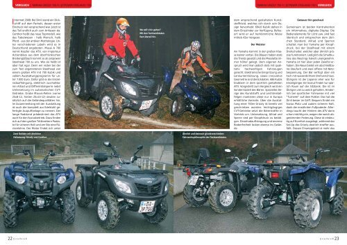 | VERGLEICH | YAMAHA GRIZZLY 700 FI / JETPOWER - Actionbikes