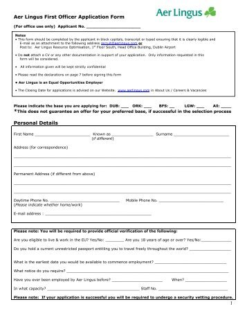 Northern Ireland Pilot Application Form Personal Details  Aer