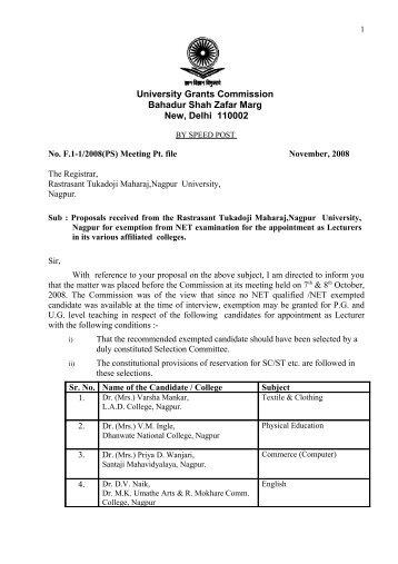 Exemption from NET examination - Nagpur University