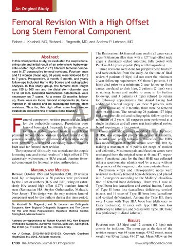 Femoral Revision With a High Offset Long Stem Femoral Component