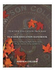 Teacher Education Program Handbook Page 0 - Simpson College