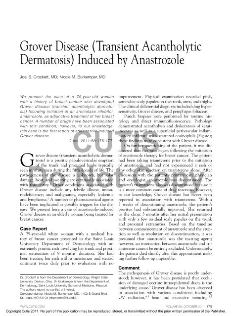 Grover Disease Transient Acantholytic Dermatosis Induced
