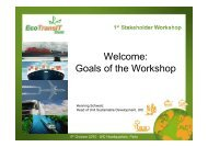 Welcome: Goals of the Workshop - EcoTransIT