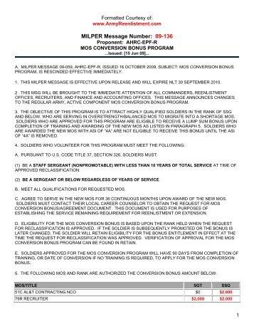 Milper Message Number 07 294 Ahrc Epf R Mos Conversion Bonus