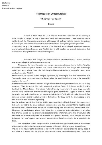 a jury of her peers theme essay 6 results research essay sample on jury of her peers custom essay writing.