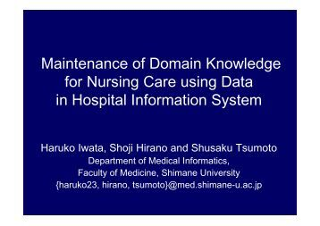 four domains of nursing data Read chapter 4 health care data standards: nursing diagnosis, patient problem) order entry, indexing for data retrieval, and domain ontology.