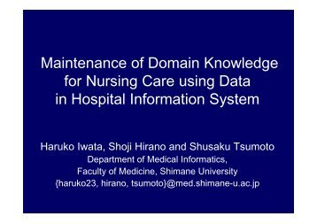 Maintenance of Domain Knowledge for Nursing Care using Data in ...