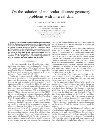 On the solution of molecular distance geometry problems with ... - Lix