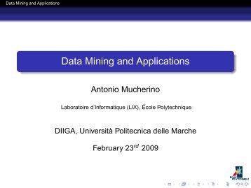 Data Mining and Applications - Antonio Mucherino Home Page