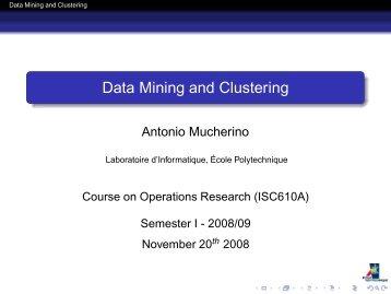 Data Mining and Clustering - Antonio Mucherino Home Page