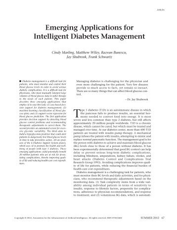 Emerging Applications for Intelligent Diabetes ... - ACE home page