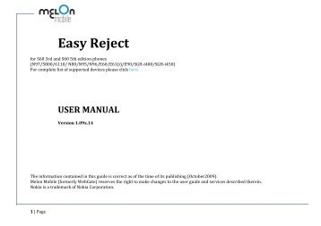 Easy Reject User Manual - Nokia Software Market