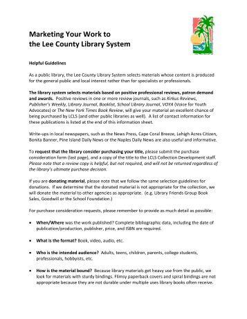 author purchase request - Lee County Library System