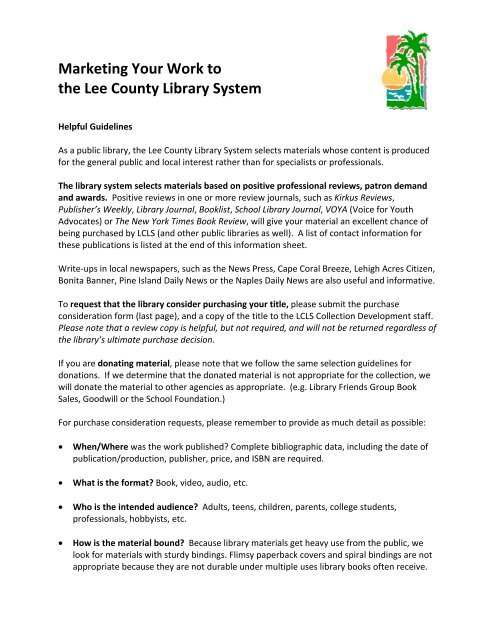 Author Purchase Request Lee County Library System
