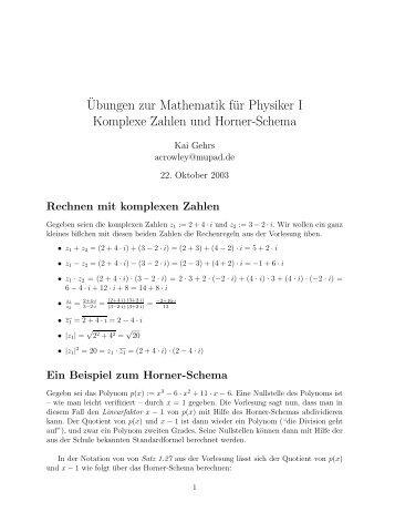 ¨Ubungen zur Mathematik für Physiker I Komplexe Zahlen und ...