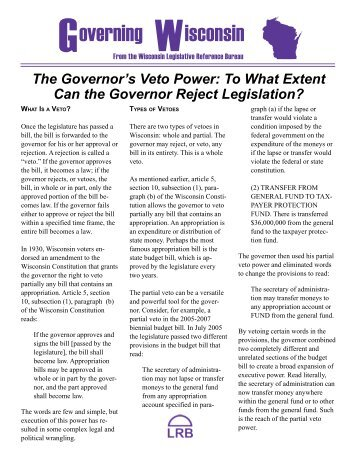 The Governor's Veto Power - Wisconsin State Legislature ...