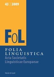 FOLIA LINGUISTICA Acta Societatis Linguisticae Europaeae