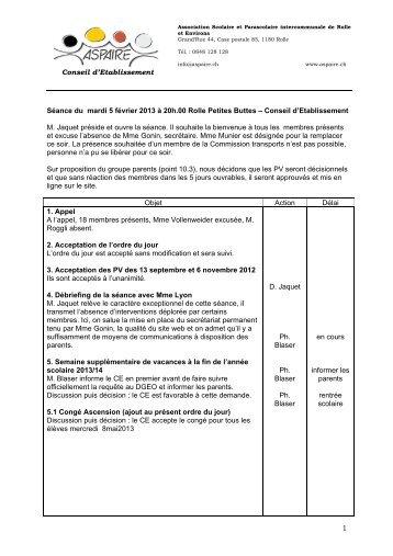 1 Conseil d'Etablissement Séance du mardi 5 février 2013 ... - aspaire