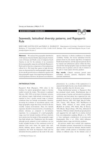 latitudinal gradient of species diversity essay This study actively promotes hypotheses put forward in recent times in explanation of latitudinal gradients in species richness first it lightly touches upon.